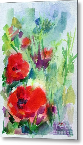 Red Poppy Heads Metal Print