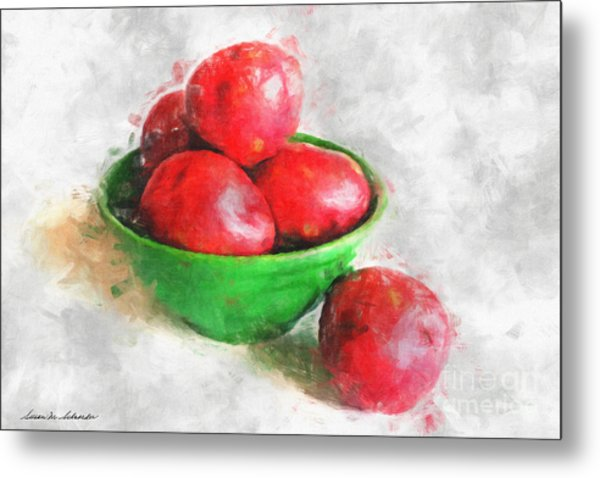 Red Potatoes In A Green Bowl Metal Print