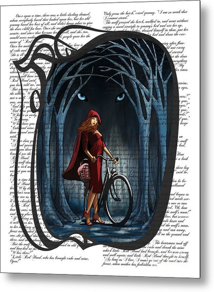 Red Riding Hood With Text Metal Print