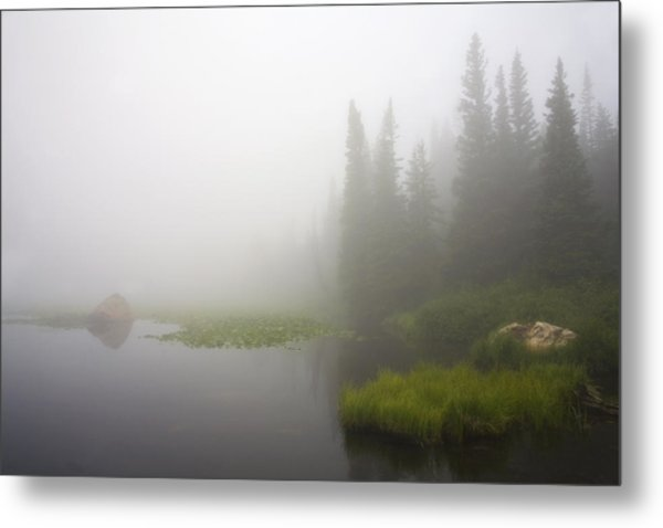 Red Rock Lake And Fog Metal Print