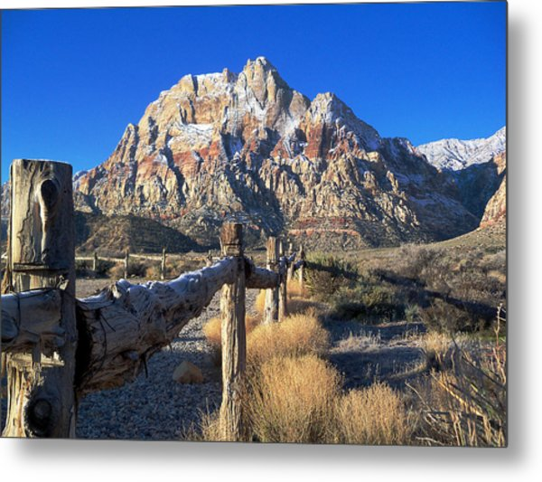 Red Rock Snow Metal Print