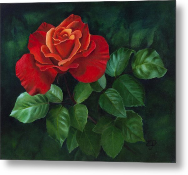 Red Rose - Oil Painting On Canvas Metal Print