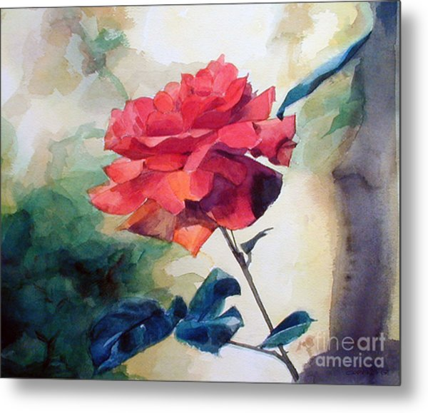 Watercolor Of A Single Red Rose On A Branch Metal Print