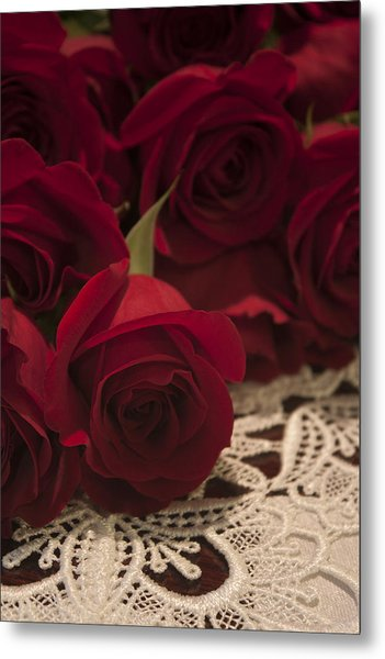 Red Roses Bouquet Metal Print