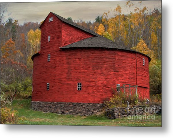 Red Round Barn Metal Print