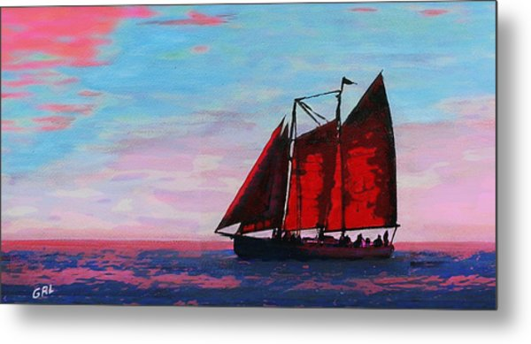 Red Sails On The Chesapeake - New Multimedia Acrylic/oil Painting Metal Print