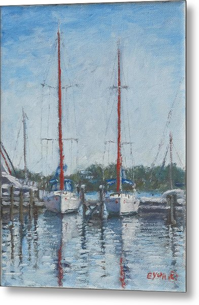 Red Sails Under Gray Sky Metal Print