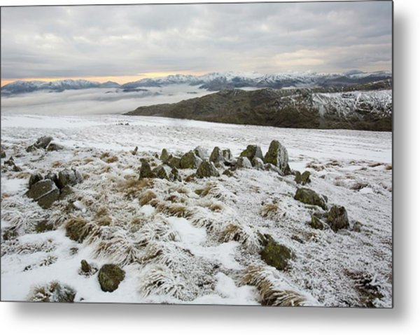 Red Screes Above Ambleside With Mist Metal Print