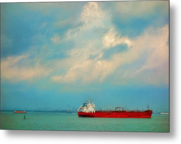 Red Ship In Oils Metal Print