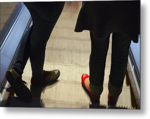 Red Shoe On Escalator Metal Print