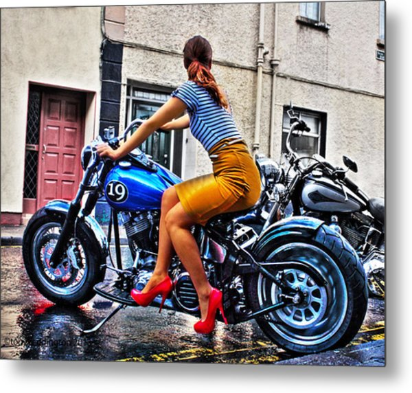 Red Shoes On A Harley Metal Print by Tony Reddington