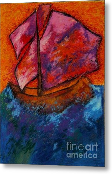 Red Sky At Night Sailors Delight Metal Print