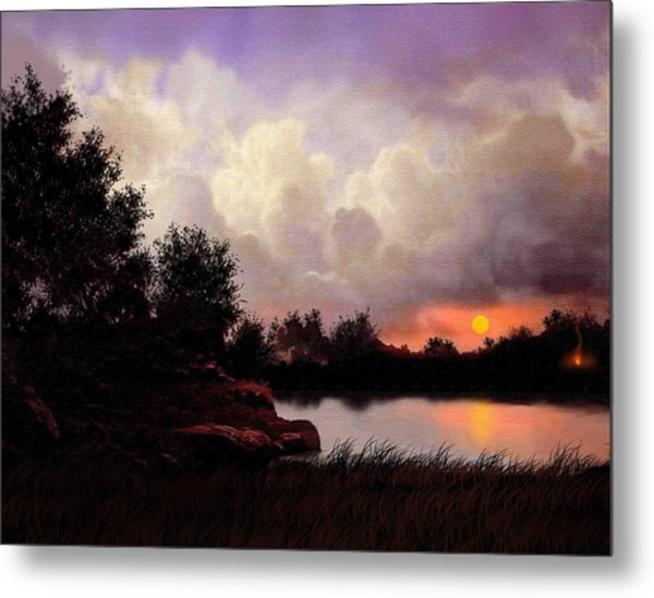 Red Sky Camp Metal Print by Robert Foster