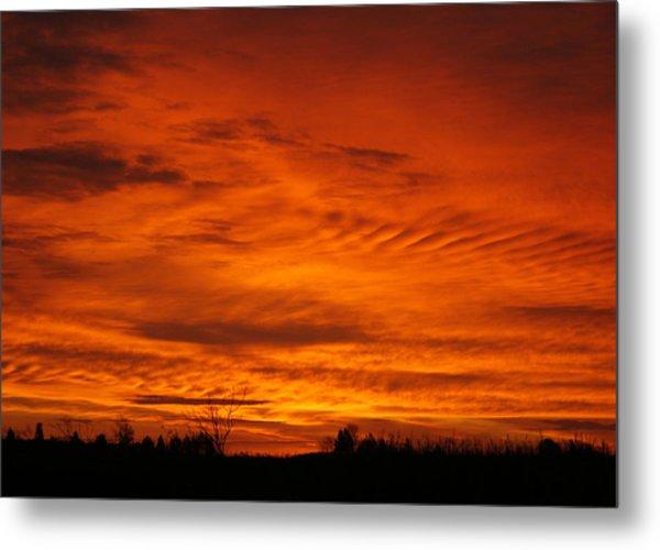 Red Sky In Morning Metal Print