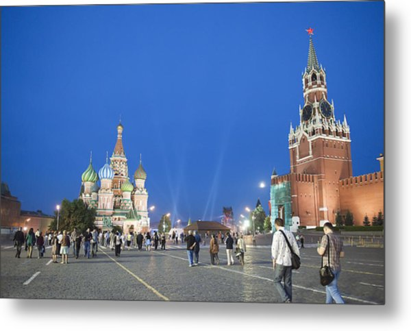 Red Square Metal Print