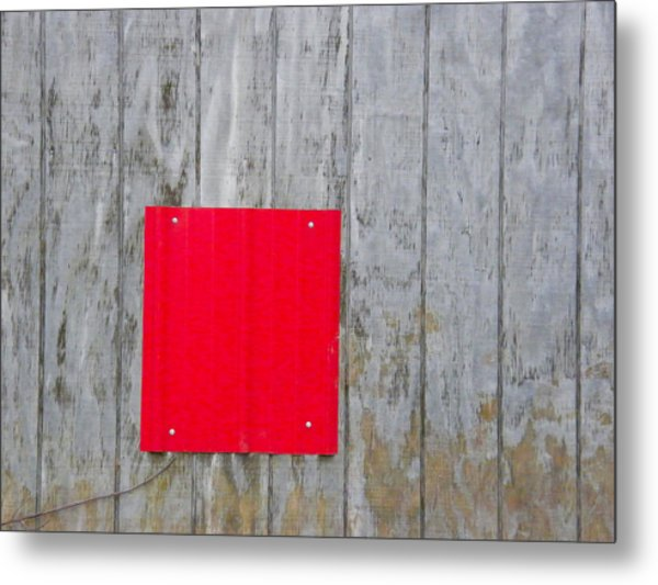 Red Square On A Wall Metal Print