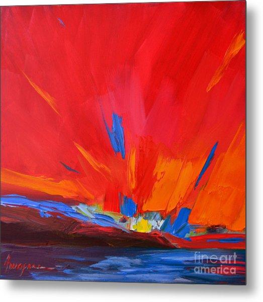 Red Sunset, Modern Abstract Art Metal Print