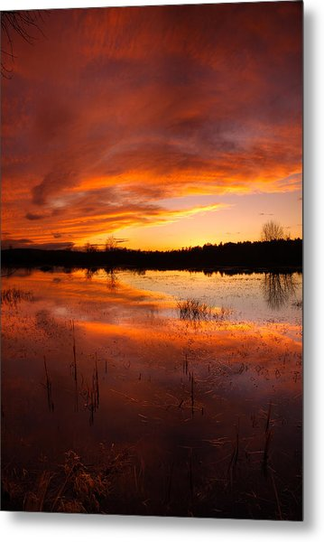 Red Sunset Over Massabesic Lake Metal Print