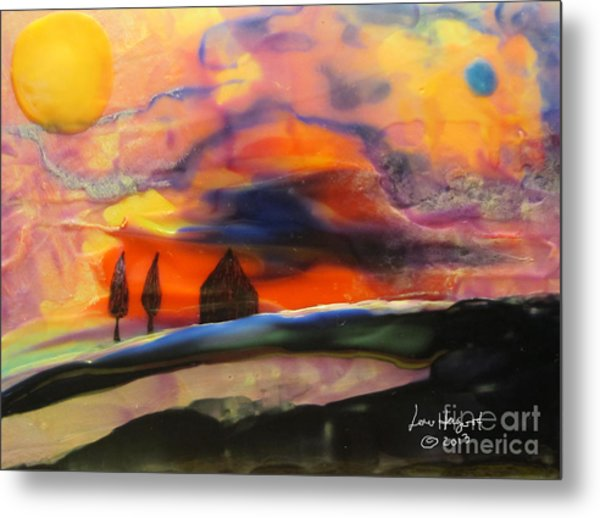 Red Sunset With Building Metal Print