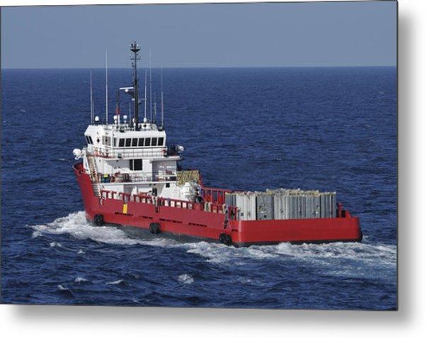 Red Supply Vessel Metal Print by Bradford Martin