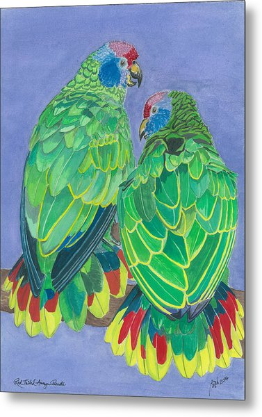 Red Tailed Amazon Parrots Metal Print by Anthony Purification