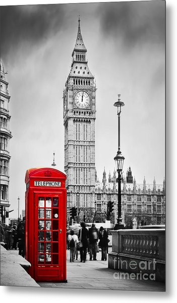 Red Telephone Booth And Big Ben In London Metal Print