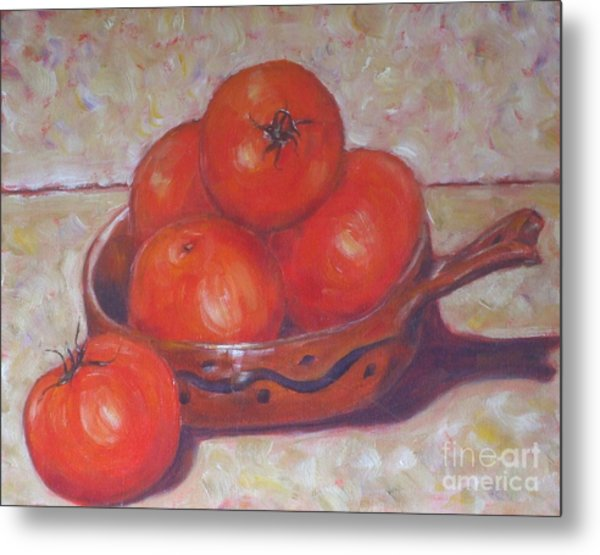 Red Tomatoes In A Dish Metal Print by Paris Wyatt Llanso