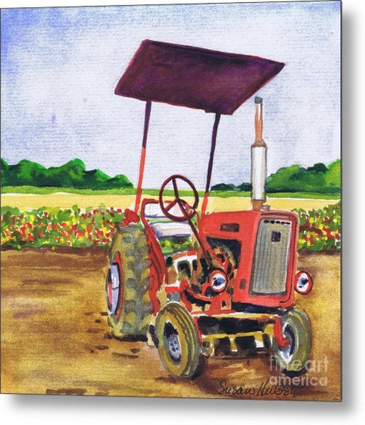 Red Tractor At Rottcamp's Farm Metal Print by Susan Herbst