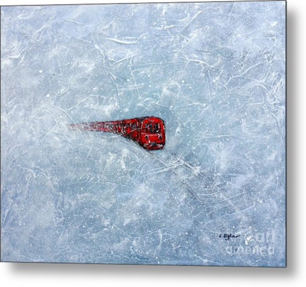Metal Print featuring the painting Red Train Braving The Winter by Cristina Stefan