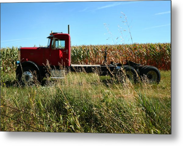 Red Truck In A Corn Field Metal Print