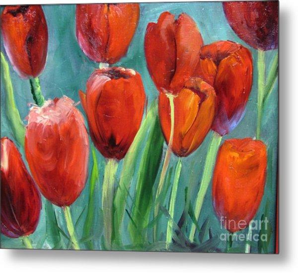 Red Tulips By Barbara Haviland Metal Print