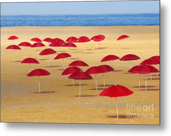 Red Umbrellas Metal Print