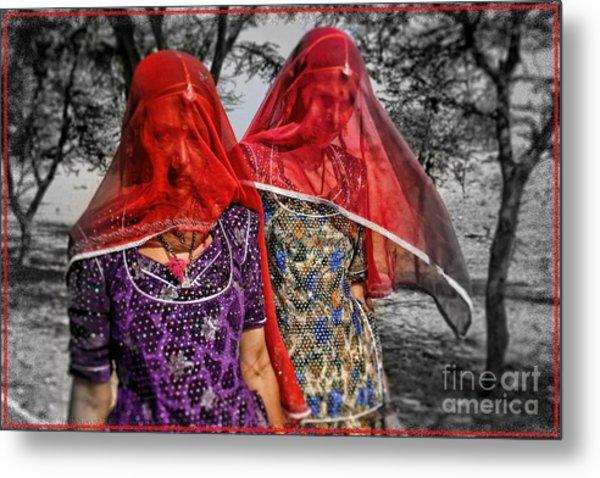Red Veils In Rajasthan Metal Print