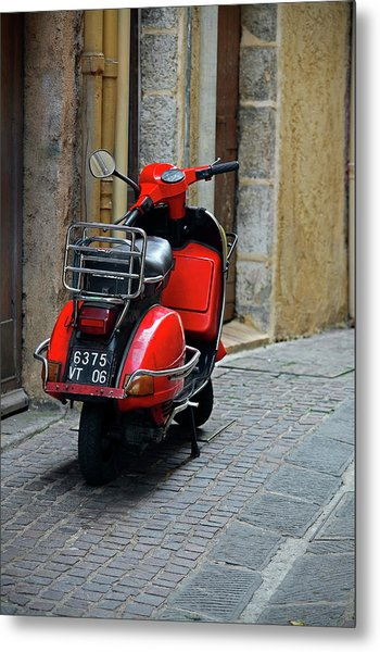 Red Vespa Scooter Parked In Sidestreet Metal Print