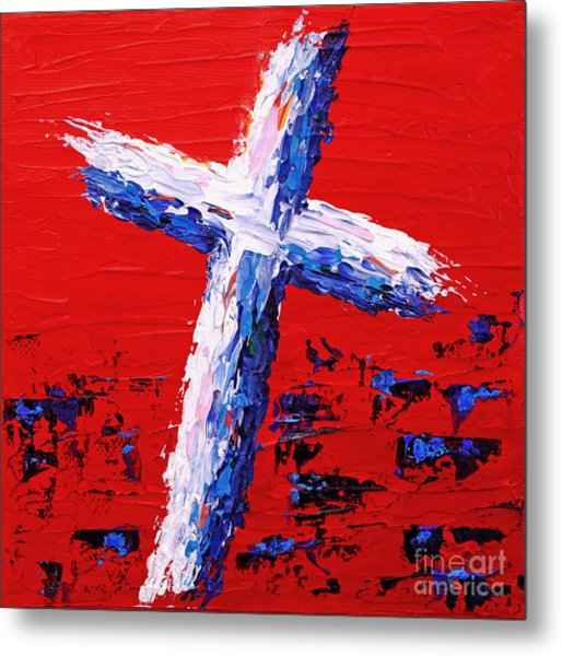 Red White And Blue Cross Metal Print by Pattie Calfy