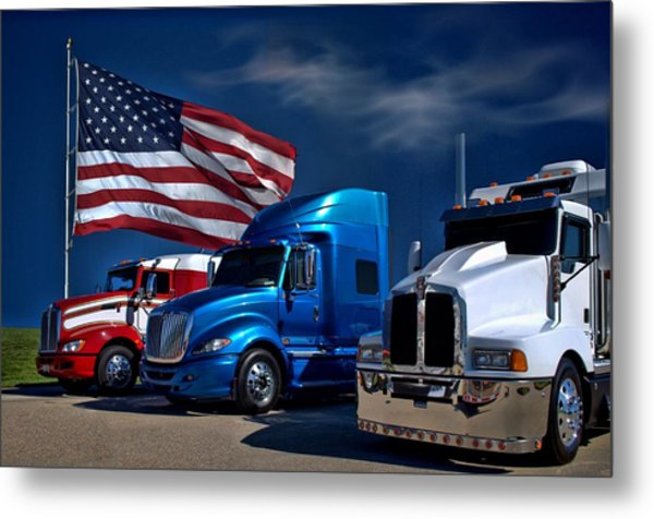 Red White And Blue Semi Trucks Metal Print by Tim McCullough