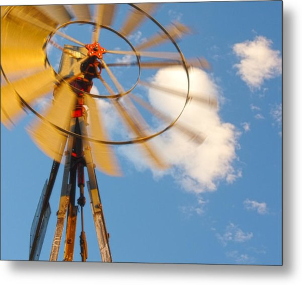 Red Wind Windmill Metal Print