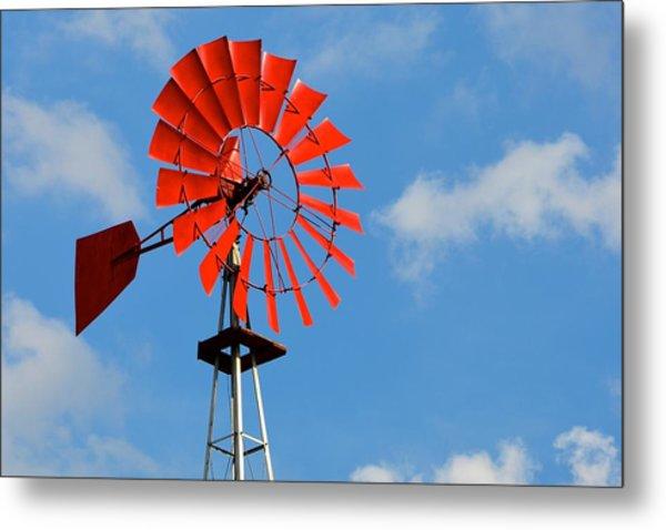 Red Windmill Metal Print