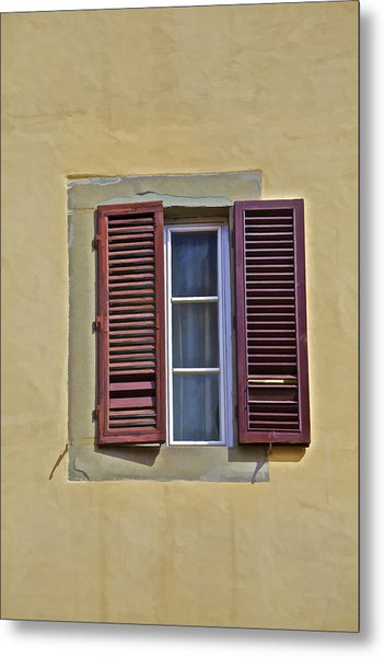 Red Window Shutters Of Florence Metal Print