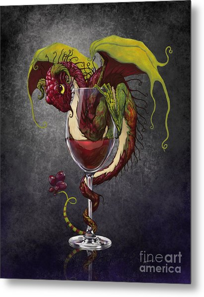 Red Wine Dragon Metal Print