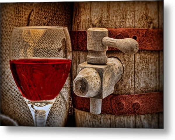 Red Wine With Tapped Keg Metal Print
