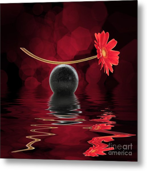 Red Zen Gerbera Metal Print