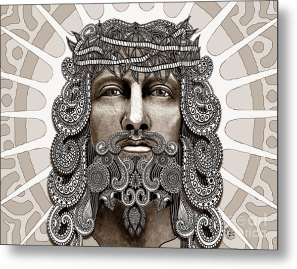 Redeemer - Modern Jesus Iconography - Copyrighted Metal Print