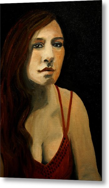 Redhead In Reflection Metal Print