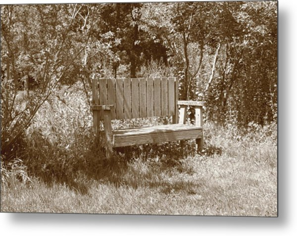 Reflecting Bench Metal Print