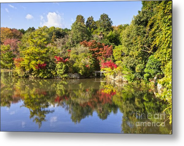 Reflection In Kyoyochi Pond In Autumn Ryoan-ji Kyoto Metal Print by Colin and Linda McKie