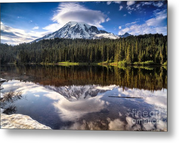 Reflection Lakes Sunset Metal Print
