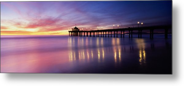 Reflection Of A Pier In Water Metal Print