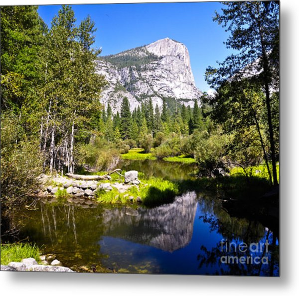 Reflection Of Mt Watkins In Mirror Lake Located In Yosemite National Park Metal Print by Camille Lyver
