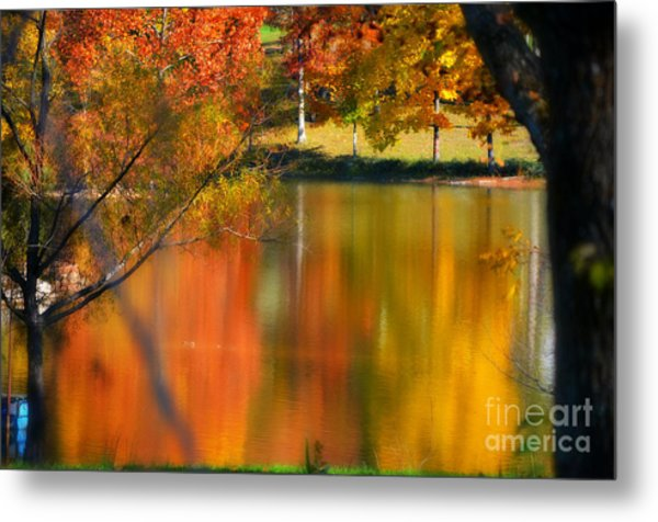 Reflection  Of My Thoughts  Autumn  Reflections Metal Print